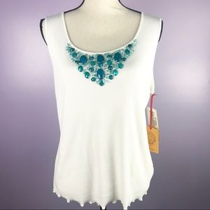 Ruby Rd Size Large Ivory Embellishment Tank Top